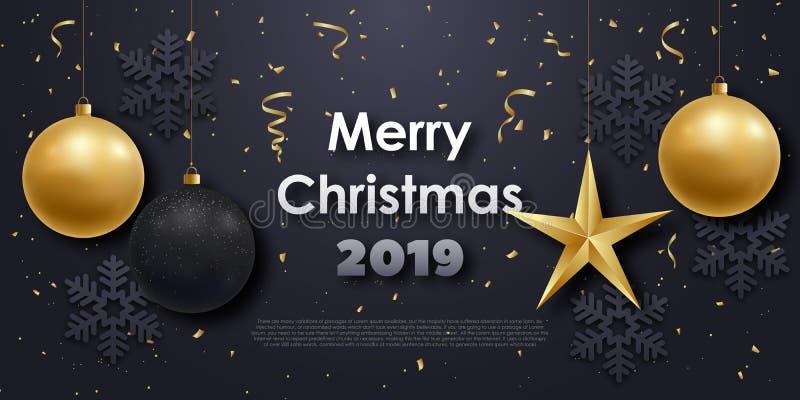 Bannière horizontale avec la boule et les ornements de Noël illustration libre de droits