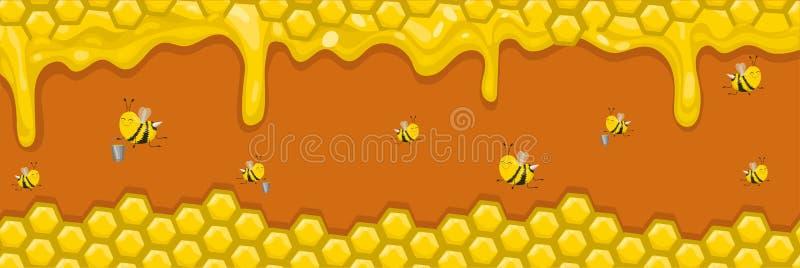 Bannière horizontale avec les nids d'abeilles, le miel et les abeilles Les abeilles portent le miel dans des seaux Illustration d illustration de vecteur
