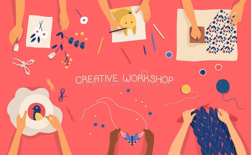 Bannière horizontale colorée avec des mains faisant l'artisanat décoratif - dessin, emboutissant, brodant, tricotant, tissant illustration libre de droits