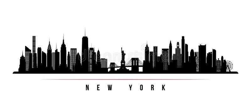 Bannière horizontale d'horizon de New York City illustration de vecteur