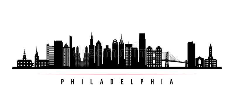 Bannière horizontale d'horizon de ville de Philadelphie illustration stock