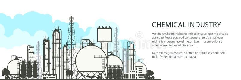 Bannière horizontale d'industrie chimique illustration de vecteur