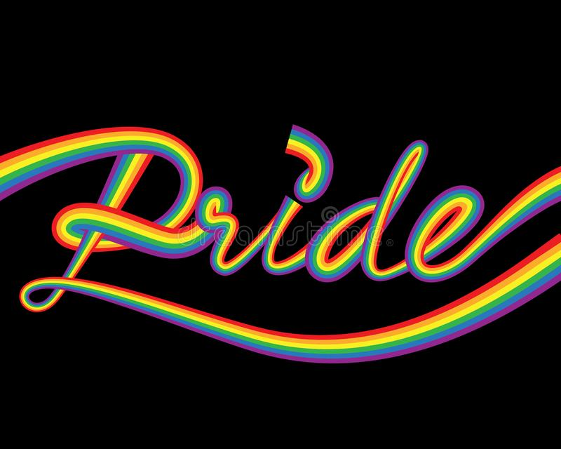 Bannière horizontale de fierté de vecteur heureux de mois avec le texte coloré d'arc-en-ciel de typographie sur un fond noir illustration de vecteur