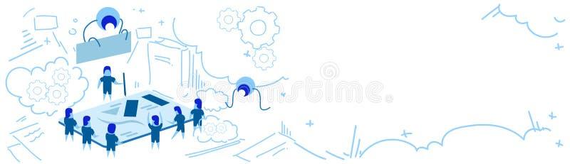 Bannière horizontale de griffonnage de croquis de concept de succès de travail d'équipe de séance de réflexion de groupe de perso illustration stock