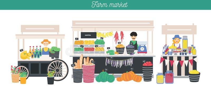 Bannière horizontale de la publicité sur le thème du marché de ferme, aliment biologique Différents vendeurs, boutique locale Les illustration de vecteur