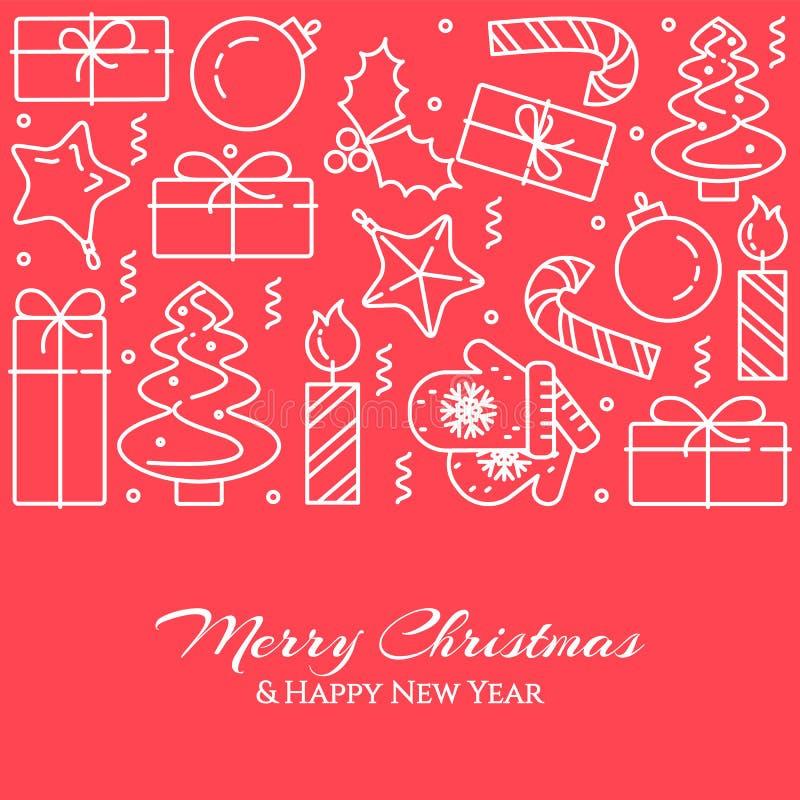 Bannière horizontale de Noël avec l'arbre, cadeaux, décorations sous la forme de cercle Schéma plat Illustration de vecteur illustration de vecteur