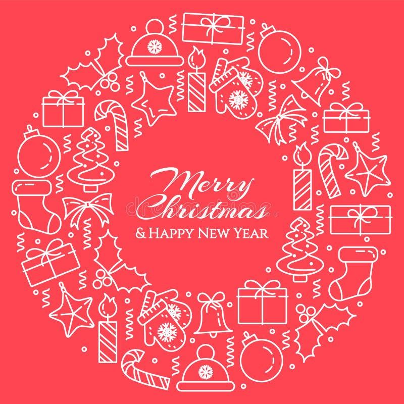 Bannière horizontale de Noël avec l'arbre, cadeaux, décorations sous la forme de cercle Schéma plat Illustration de vecteur illustration libre de droits