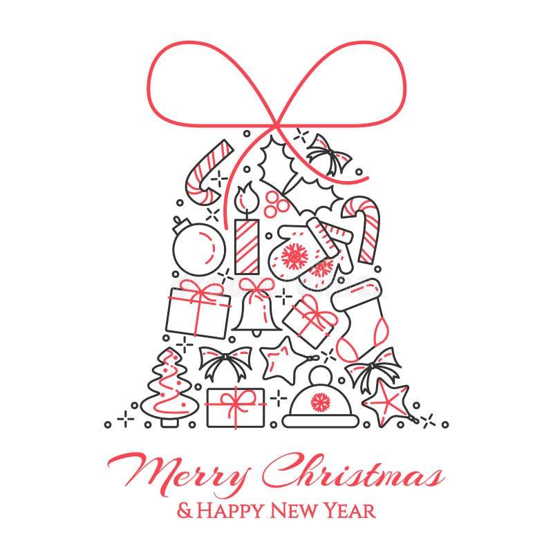 Bannière horizontale de Noël avec l'arbre, cadeaux, décorations sous la forme de cloche Schéma plat Illustration de vecteur illustration de vecteur