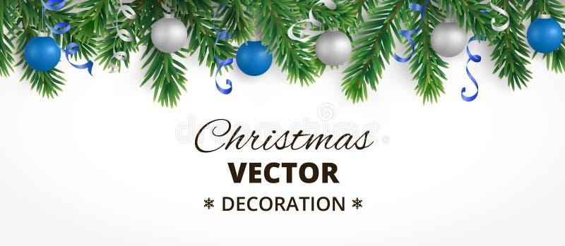 Bannière horizontale de Noël avec la guirlande d'arbre de sapin, les boules accrochantes et les rubans illustration libre de droits