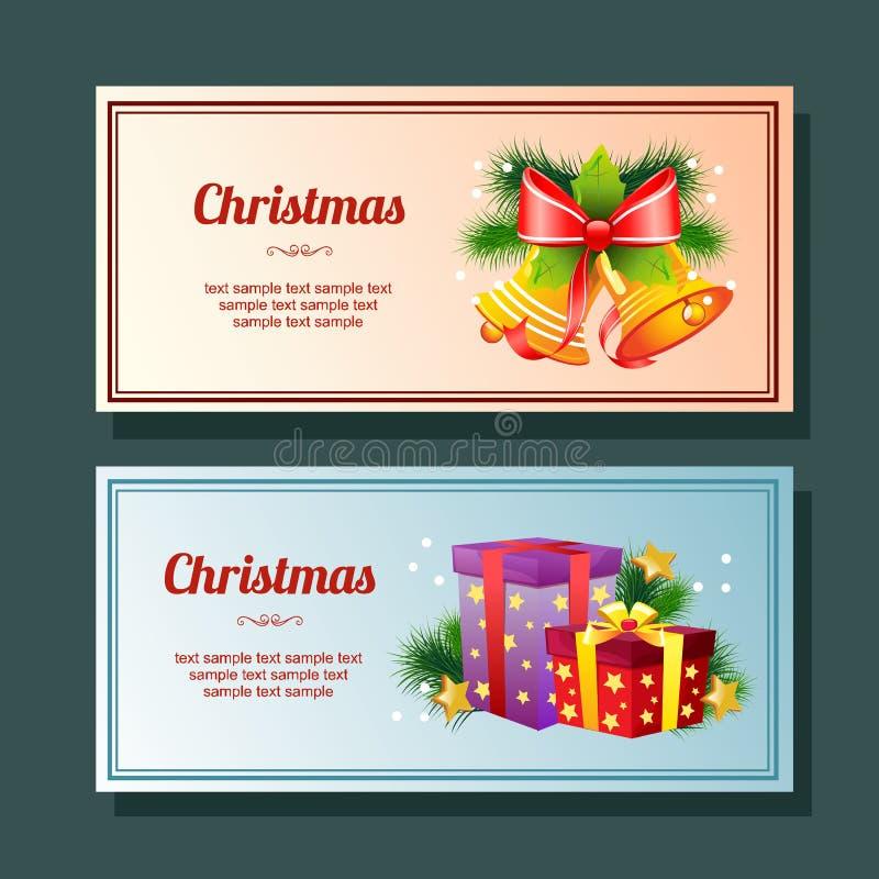 Bannière horizontale de Noël de décoration colorée de saison avec la cloche illustration de vecteur