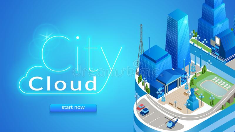 Bannière horizontale de nuage de ville Paysage urbain futuriste illustration stock