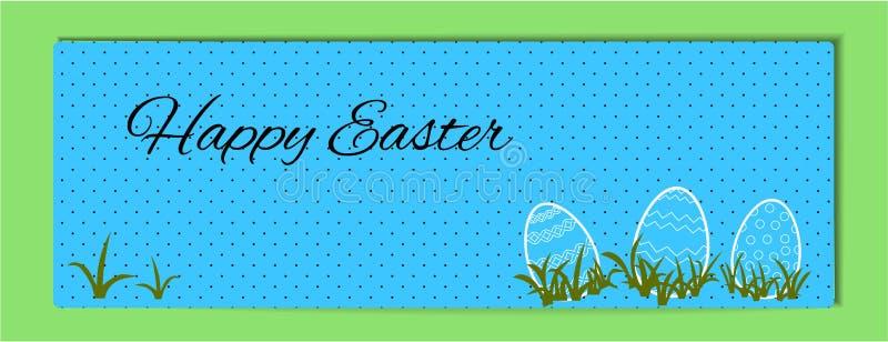 Bannière horizontale de Pâques en pois bleu et noir Joyeuses Pâques Illustration d'oeufs contournés avec un modèle dans l'herbe v illustration de vecteur