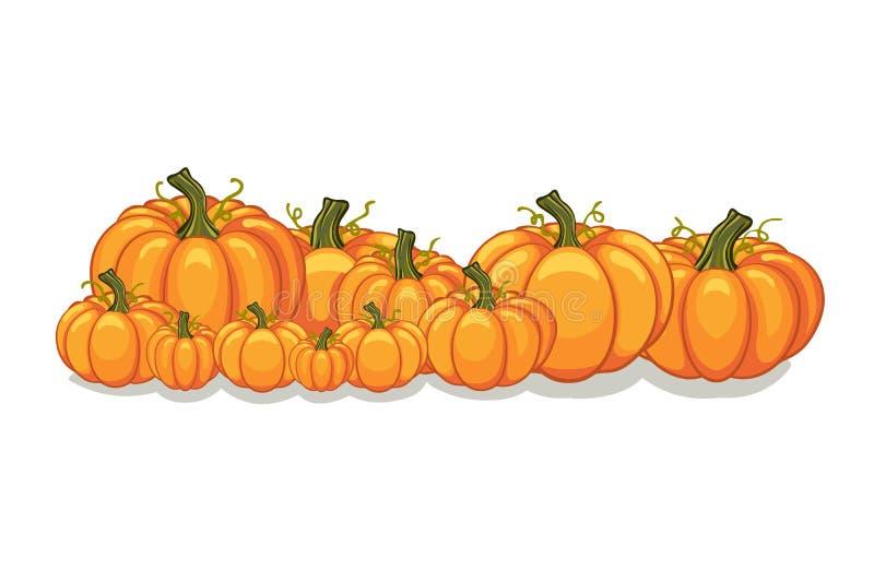 Bannière horizontale de potirons de vecteur de Halloween illustration stock
