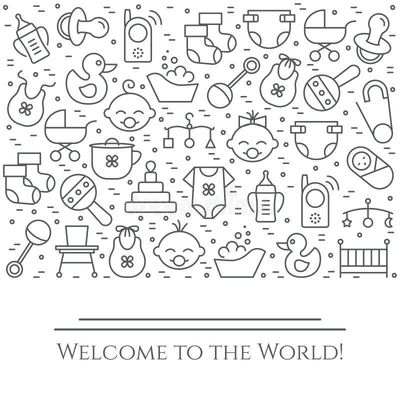 Bannière horizontale de thème de bébé Pictogrammes du bébé, du landau, de la huche, du mobile, des jouets, du hochet, de la boute illustration de vecteur