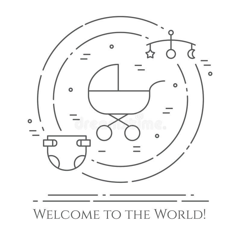 Bannière horizontale de thème de bébé Pictogrammes de bébé, de landau, de huche, de mobile, de jouets, de hochet, de bouteille, d illustration de vecteur