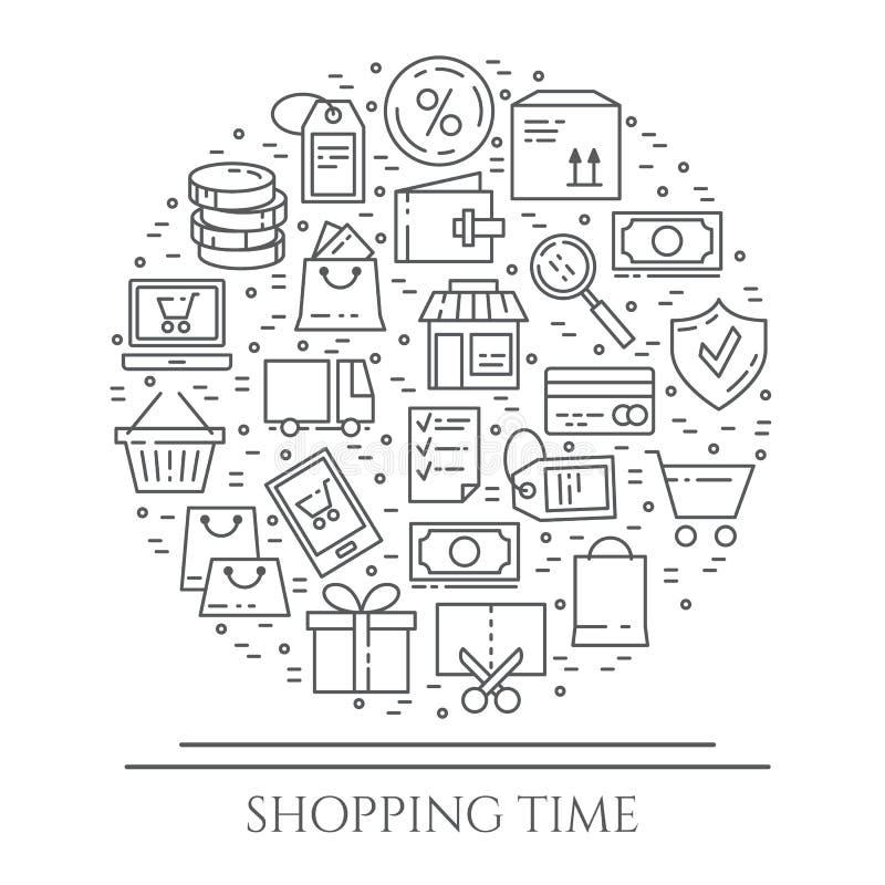 Bannière horizontale de thème d'achats Pictogrammes de sac, de carte de crédit, de boutique, de livraison, d'argent liquide, de p illustration de vecteur