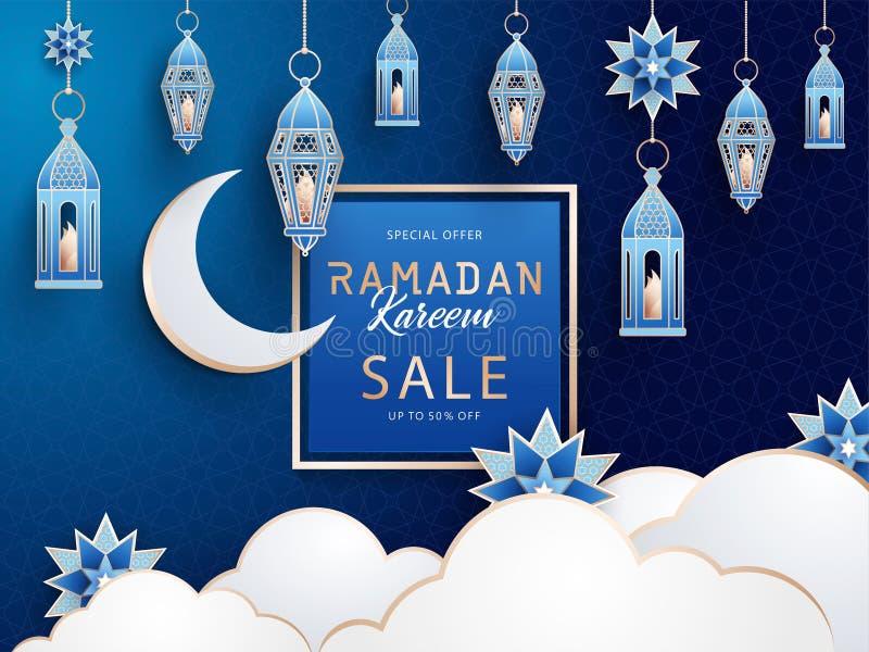 Bannière horizontale de vente de Ramadan Kareem avec les lanternes, le croissant, les étoiles et les nuages traditionnels sur le  illustration de vecteur