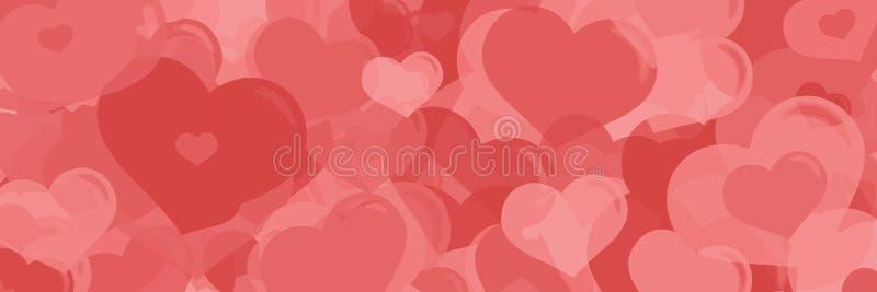 Bannière horizontale de Web de coeurs de jour de valentines photo libre de droits