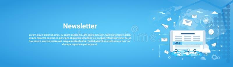 Bannière horizontale de Web de concept de bulletin d'information avec l'espace de copie illustration libre de droits