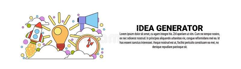 Bannière horizontale de Web de concept de créativité d'affaires de générateur d'idée avec l'espace de copie illustration de vecteur