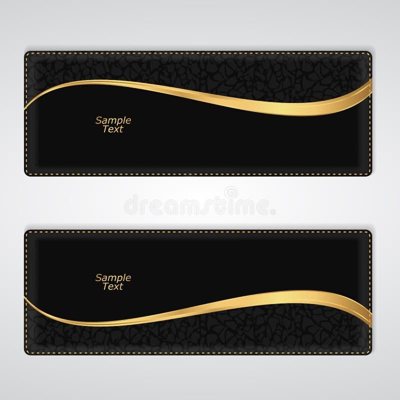 Bannière horizontale en cuir noire élégante avec une rayure d'or illustration de vecteur