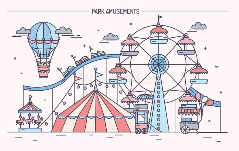 Bannière horizontale gentille de parc d'attractions Cirque, roue de ferris, attractions illustration stock