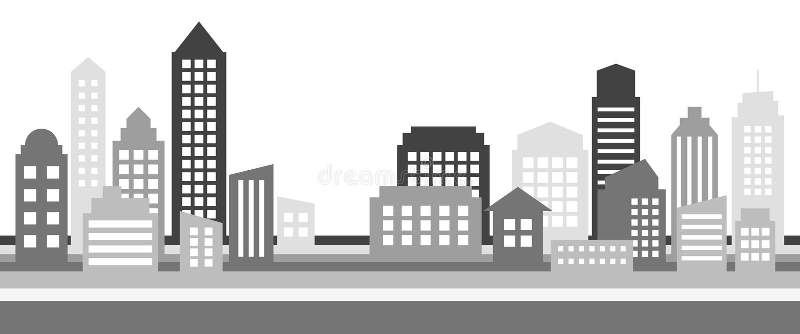 Bannière horizontale monochrome de paysage urbain, architecture moderne illustration libre de droits