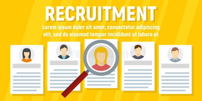 Bannière humaine de concept de recrutement, style plat illustration libre de droits