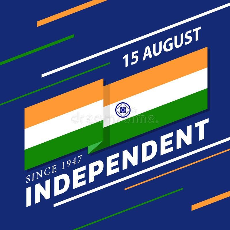 Bannière indienne de Jour de la Déclaration d'Indépendance avec des rayures de drapeau de l'Inde ondulant les coins et le texte p illustration de vecteur