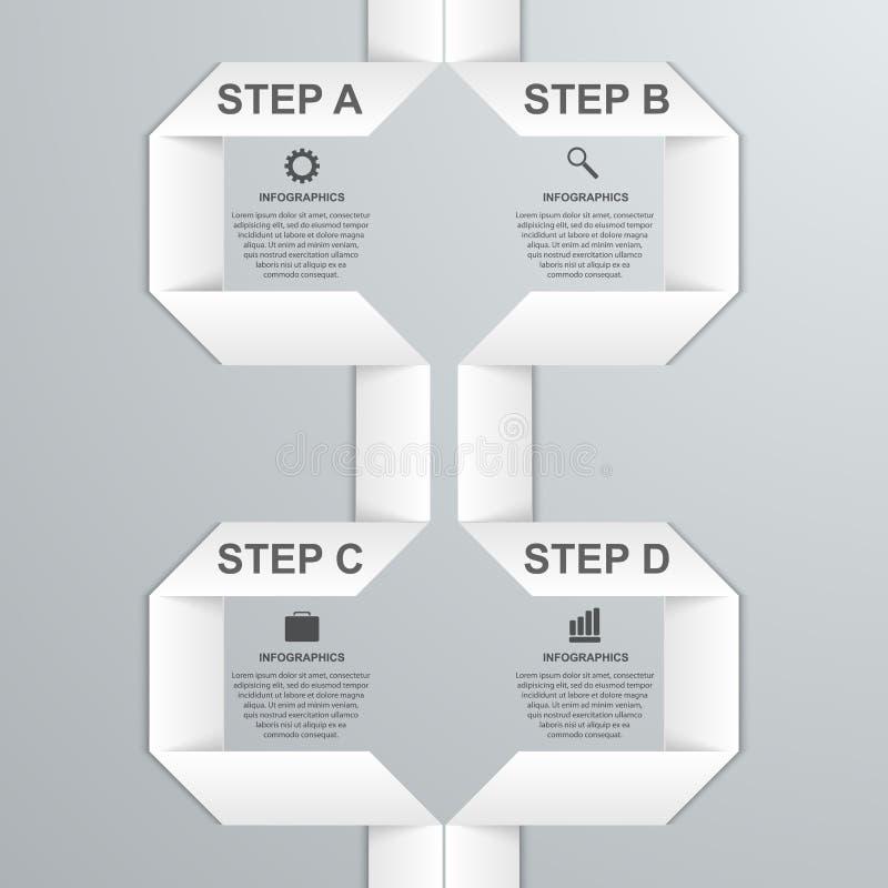 Bannière infographic moderne d'option avec le ruban de livre blanc Éléments de conception illustration libre de droits