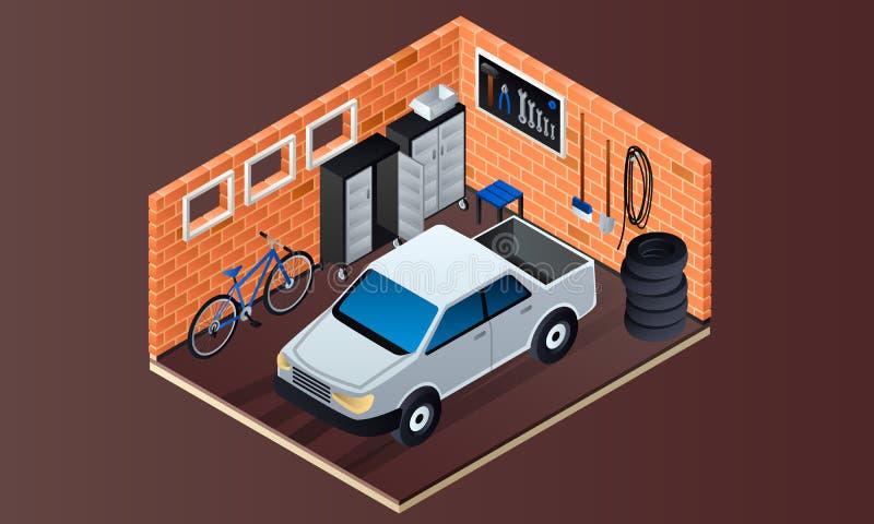Bannière intérieure de garage de brique, style isométrique illustration stock