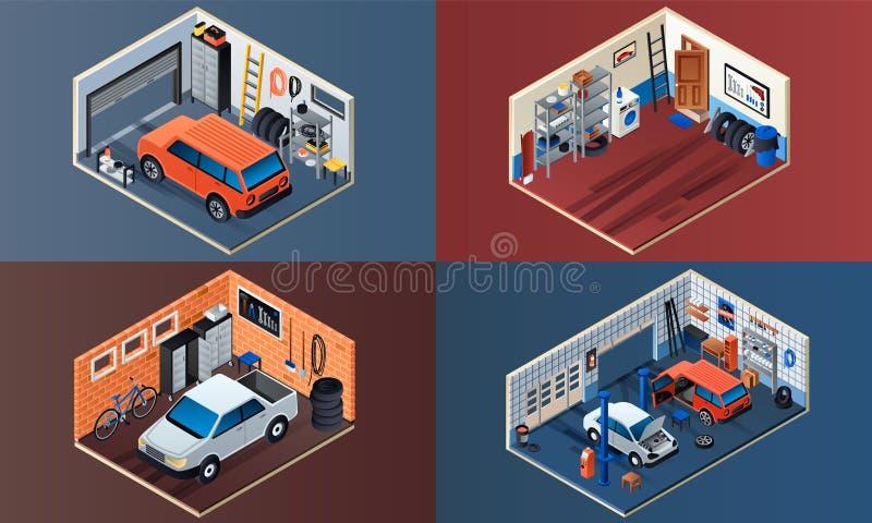 Bannière intérieure de garage réglée, style isométrique illustration libre de droits