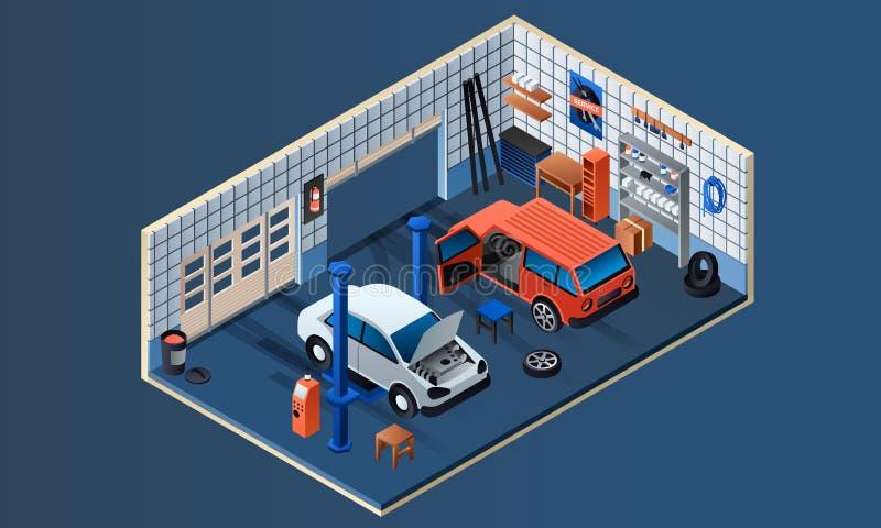Bannière intérieure de garage de service de voiture, style isométrique illustration de vecteur