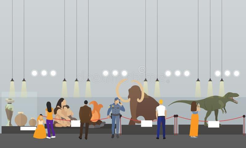 Bannière intérieure de vecteur de musée archéologique Visiteurs observant l'exposition illustration stock