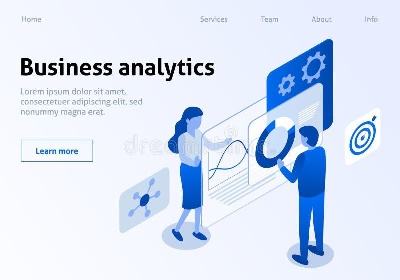 Bannière isométrique d'Analytics efficace d'affaires illustration de vecteur