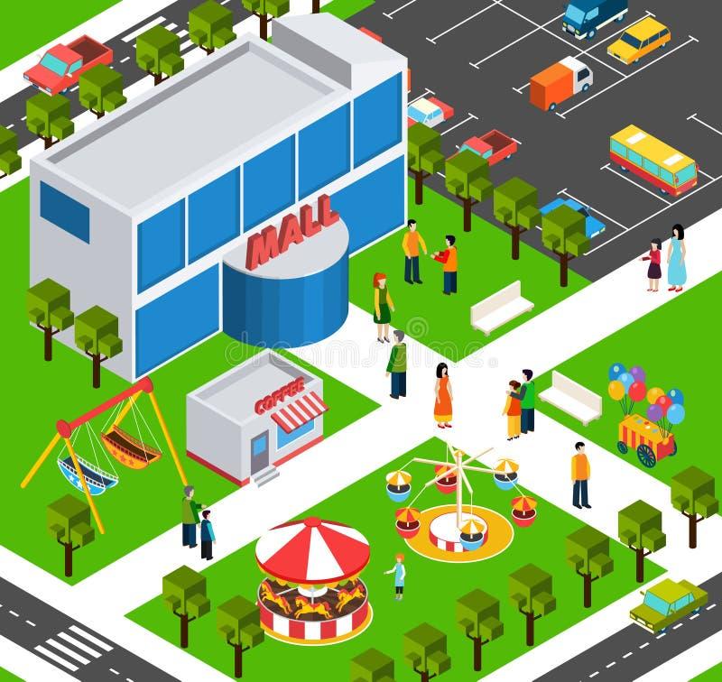 Bannière isométrique de centre de centre commercial illustration libre de droits