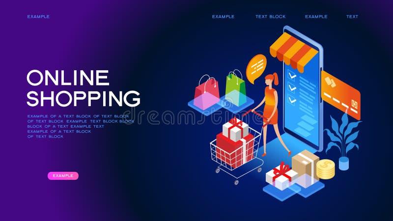 Bannière isométrique de concept d'achats en ligne illustration de vecteur