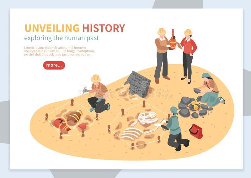 Bannière isométrique de concept d'exploration archéologique illustration libre de droits