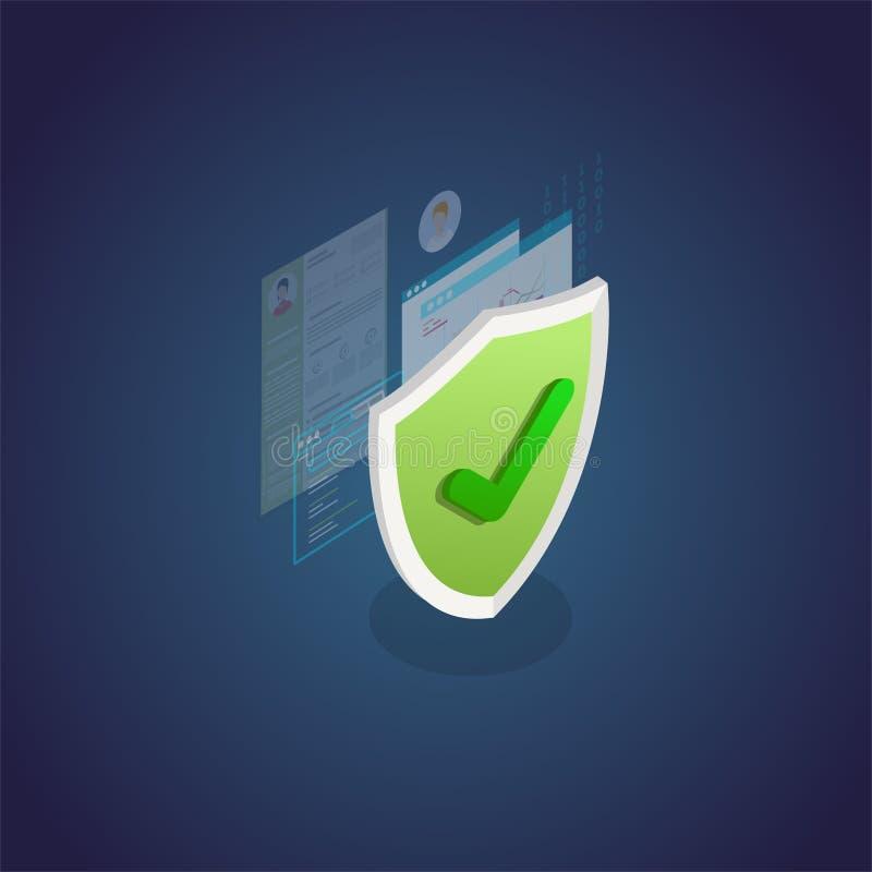 Bannière isométrique de protection des données personnelle illustration de vecteur