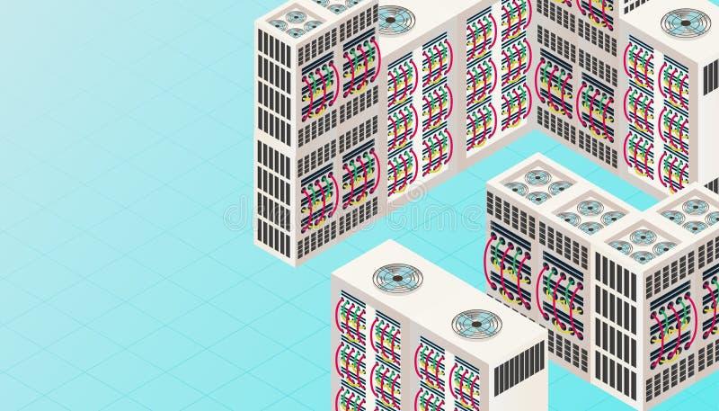 Bannière isométrique de technologie du connectrion 3D de réseau informatique Illustration de vecteur de service numérique d'affai illustration stock