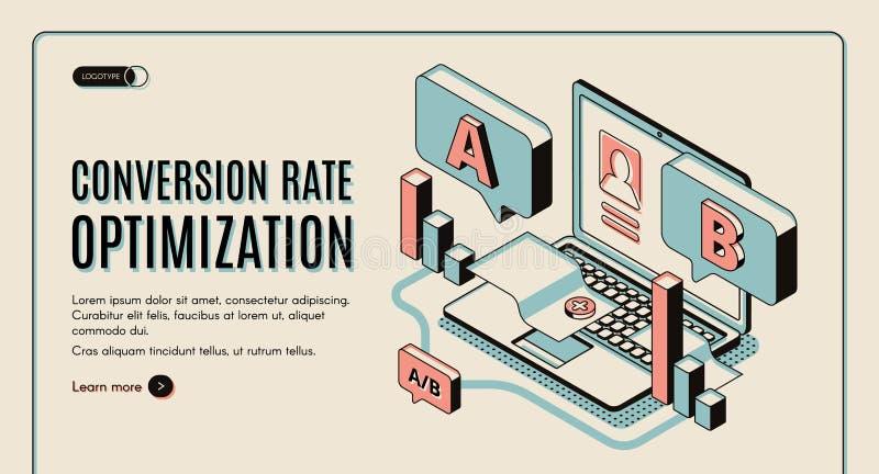Bannière isométrique de Web d'optimisation de taux de conversion illustration de vecteur