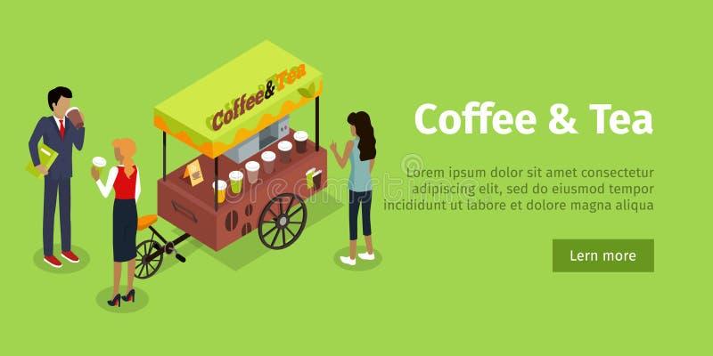 Bannière isométrique de Web de vecteur de concept de thé de café illustration stock