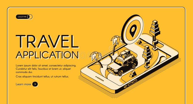 Bannière isométrique de Web de vecteur d'application de voyage illustration libre de droits