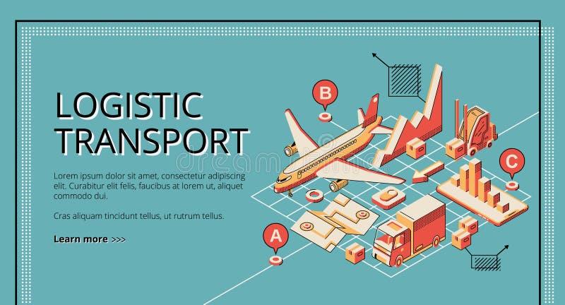 Bannière isométrique de Web de vecteur de transport logistique illustration libre de droits