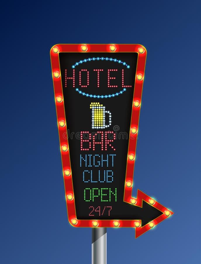 Bannière légère d'or de rétro flèche avec le fond de bleu d'hôtel illustration stock