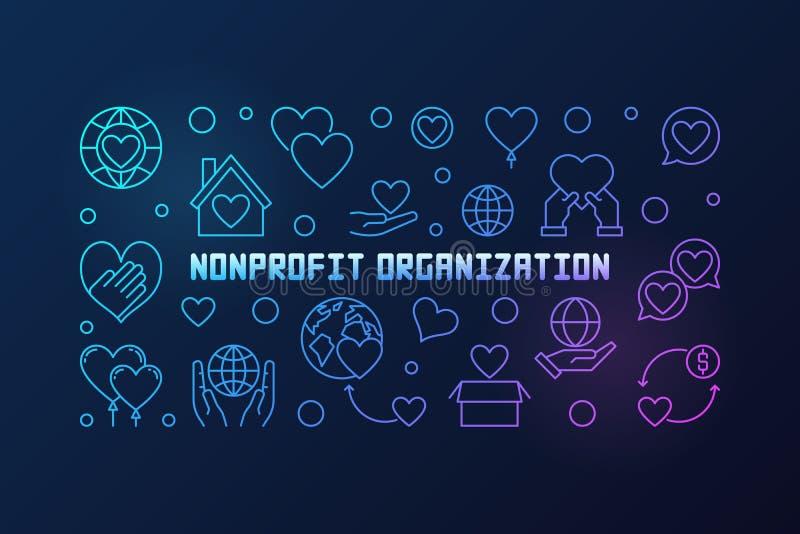 Bannière linéaire colorée de vecteur d'organisation à but non lucratif illustration stock