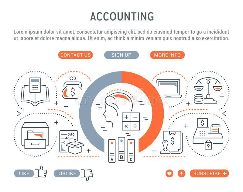 Bannière linéaire de la comptabilité illustration de vecteur