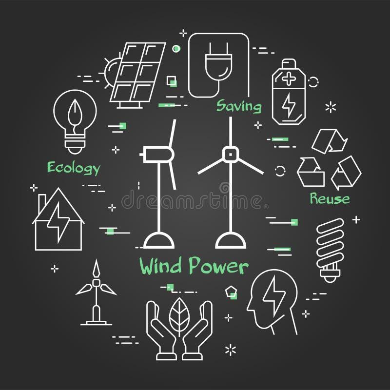 Bannière linéaire de noir de vecteur des turbines de vent illustration libre de droits