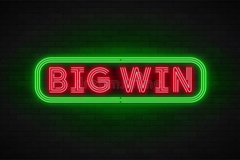 Bannière linéaire de promotion de lampe au néon, gros lot, jeu, grande victoire illustration de vecteur