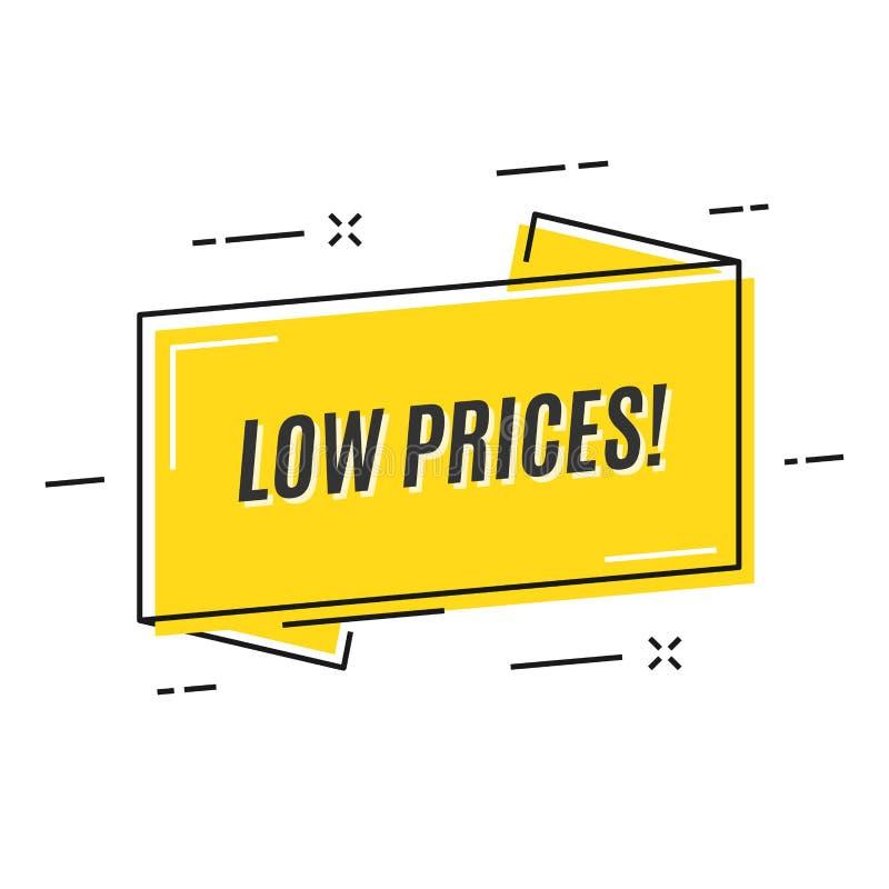 Bannière linéaire plate de ruban de promotion, prix à payer, autocollant, insigne, illustration stock
